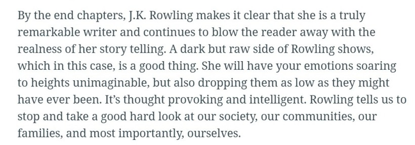 Screenshot of 'The Casual Vacancy' reader review • Hypable (6)