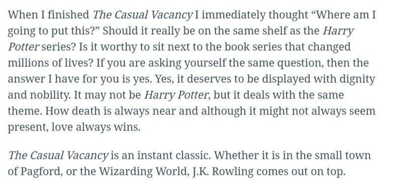 Screenshot of 'The Casual Vacancy' reader review • Hypable (7)